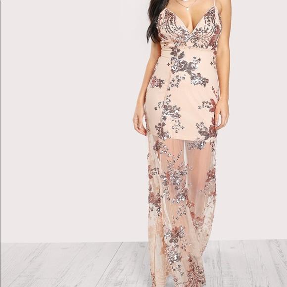 f20a47b321d01 Sequin mesh maxi dress nude blush Boutique